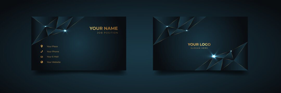 Luxury and elegant dark black navy business card design with gold style minimalist print template