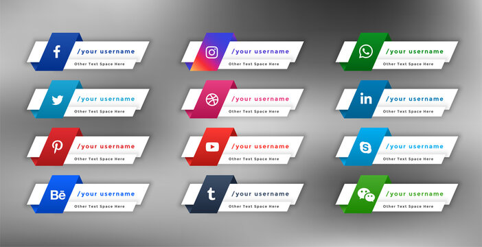 stylish social media web lower third banners template design