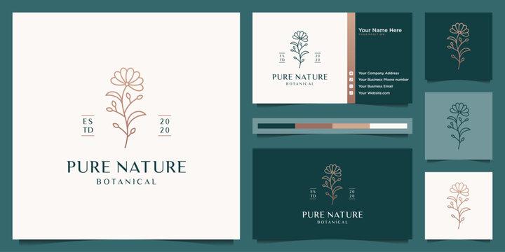 Elegant flourish beauty golden flower logo design and business card