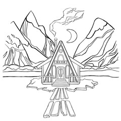 Coloring book, winter night house in the mountains