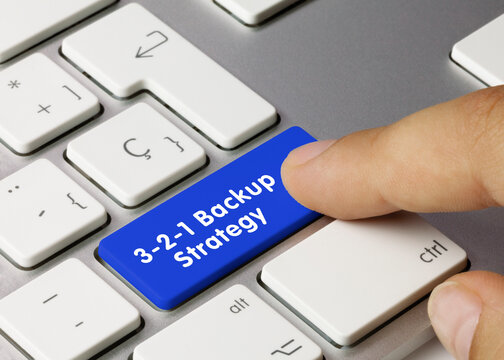 3-2-1 Backup Strategy - Inscription on Blue Keyboard Key.