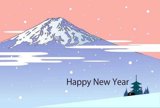 年賀テンプレート、富士山と寺と雪