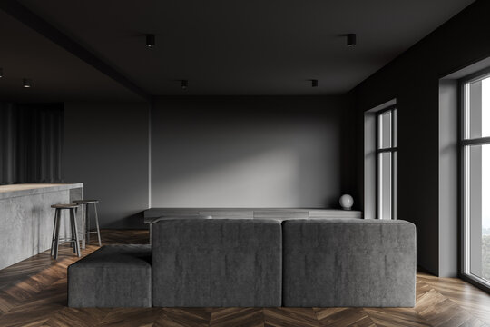 Dark gray kitchen interior with bar and sofa