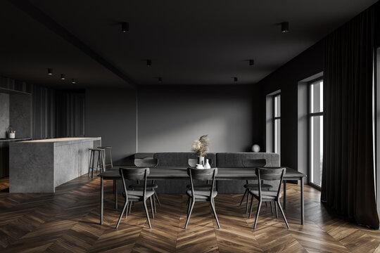 Dark gray kitchen interior with table