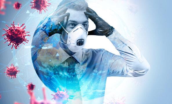 Panicking businessman in mask, coronavirus and planet