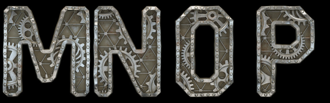 Mechanical alphabet made from rivet metal with gears on black background. Set of letters M, N, O, P. 3D