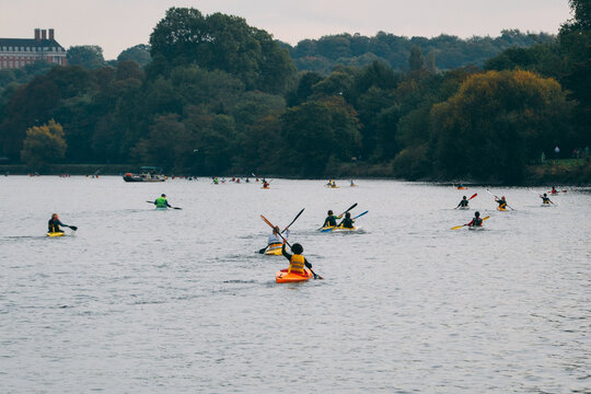 RICHMOND, UNITED KINGDOM - Oct 19, 2020: Hasler Final Marathon Kayaking Canoeing National Championships in Richmond, UK