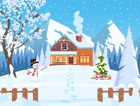 Suburban house covered snow. Building in holiday ornament. Christmas landscape tree, snowman. New year decoration. Merry christmas holiday xmas celebration. Vector illustration flat style