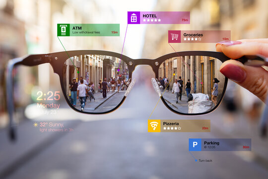 Concept of augmented reality technology being used in futuristic smart tech glasses