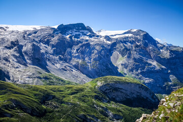 Alpine glaciers and mountains landscape in French alps.