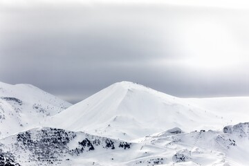 Majestic High mountains with winter snow