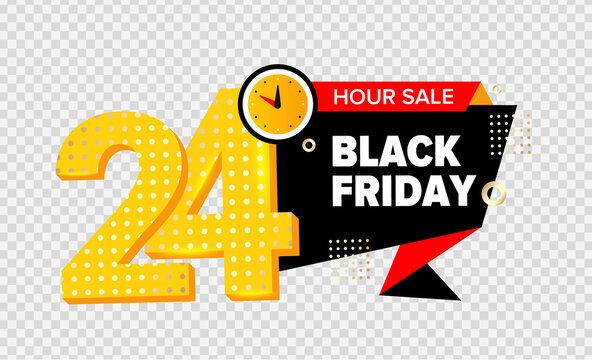 24 hour sale. BLACK FRIDAY, Yellow banner. Vector illustration. Watch element sign as for your design.
