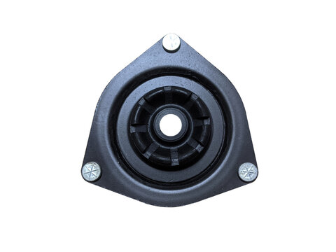 Suspension strut support bearing isolated on white background. New spare parts.
