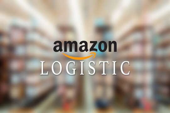 New York - United States - 7 November 2020 - Closeup of Amazon logistic logo on the window of headquarter office