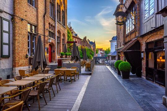 Old street of the historic city center of Bruges (Brugge), West Flanders province, Belgium. Cityscape of Bruges.