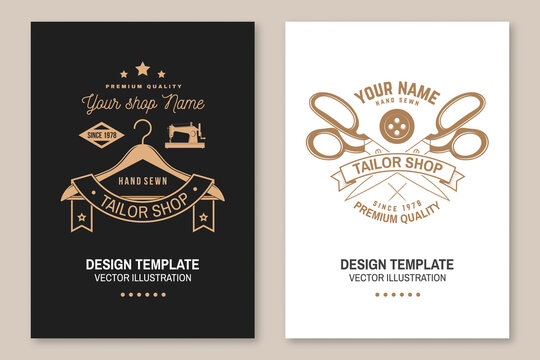Set of tailor shop covers, invitations, posters, banners, flyers, placards. Vector illustration Template design for branding, advertising for sewing shop business