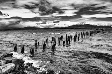 Old pier in Puerto Natales in Chile