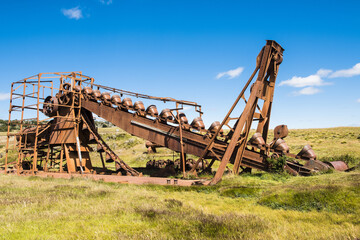 Abandoned gold mining machine in Tierra del Fuego in Chile