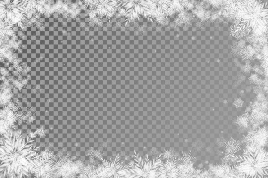 fabulous Christmas background with transparent basis and lots of snowflakes around the frame light rectangular