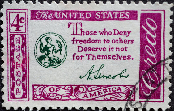 USA - Circa 1960 : a postage stamp printed in the US showing American Credo: Abraham Lincoln