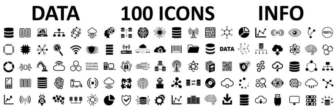 Database icons set, 100 big data universal icons set, data analysis, statistics, analytics web signs - stock vector