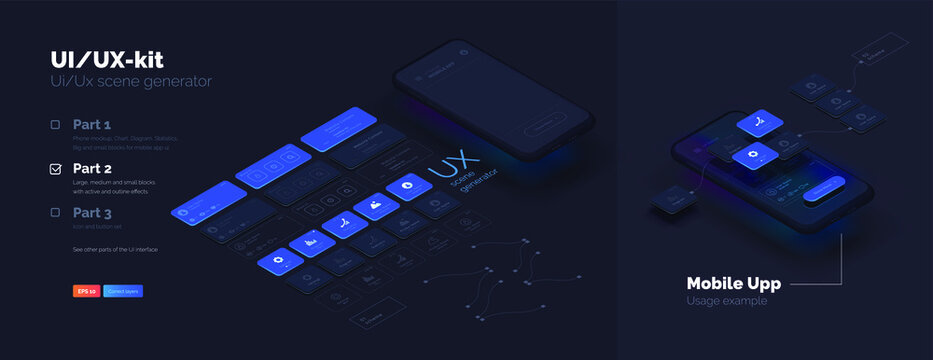 Toolkit-UI/UX scene creator. Part 2 Mobile application design. Smartphone mockup with active blocks and connections. Creation of the user interface. Modern vector illustration isometric style