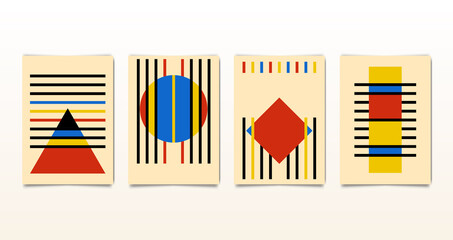 Set minimal 20s vintage geometric design bauhaus posters, vector template with primitive shapes elements circle, triangle, square, rectangle, striped, modern hipster style, collection cards isolated