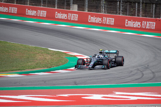 MONTMELLO, SPAIN-MAY 10, 2019: Mercedes AMG F1 W10 EQ Power+ Formula One racing car (Driver: Valtteri Bottas)