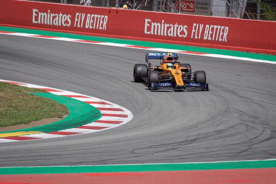 MONTMELLO, SPAIN-MAY 10, 2019: McLaren MCL34 Formula One racing car (Driver: Lando Norris)