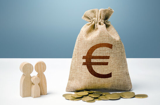Euro money bag with money and family figurines. Financial support for social institutions. Investments in human capital, culture and social projects. Providing assistance to citizens.