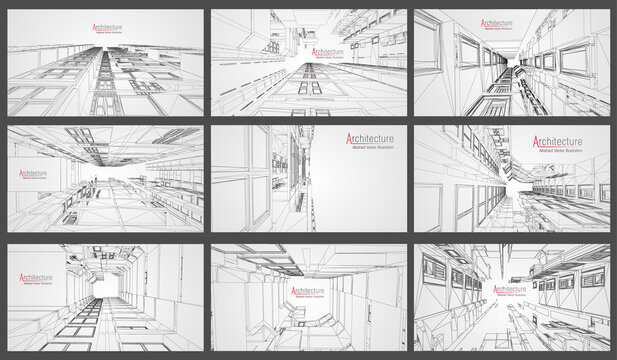 Architecture wireframe background set. Building blueprints vector. 3dbuilding wireframe architectural building. EPS 10 vector.