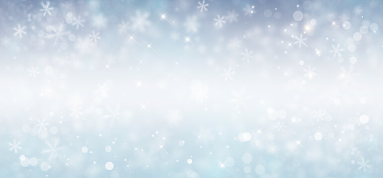 Christmas silver background with snow and stars. Winter illustration