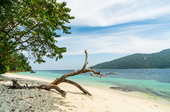 Tranquil white sand (Sai Khao) Beach with in Ra Wi Island, Southern of Thailand