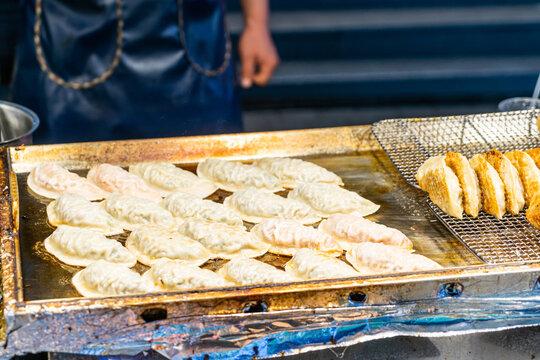 Mandu dumpling - Traditional Korean pan-fried dumpling street food