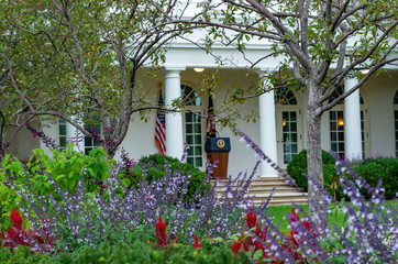 The presidential podium in the Rose Garden of the White House in Washington DC, USA