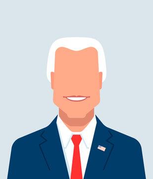 Smiling politician portrait. Vector flat cartoon avatar illustration.