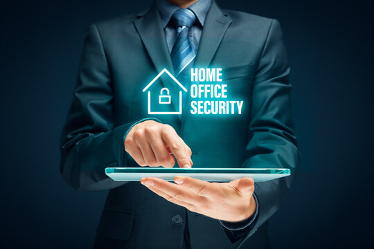 Cybersecurity concept with home office in covid-19 times