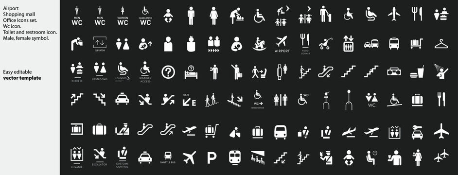 Airport - Shopping mall - Office Icons set. Office or shoping center building navigation set vector icons, services and directions. Vector.