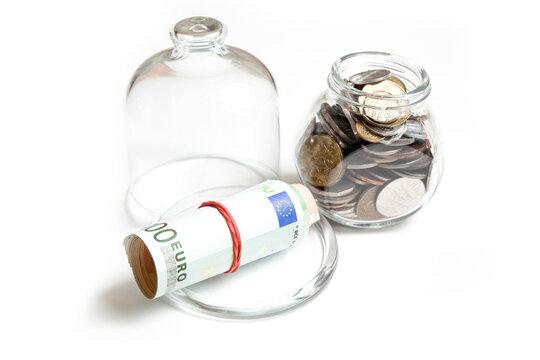saving money - banknotes and coins
