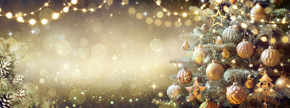 Vintage Christmas Tree With Retro Ornament And Golden Shiny Glitter In The Defocused Background