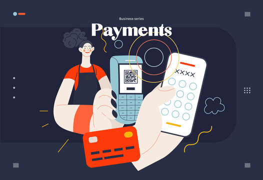 Business topics - payment, web template, header. Flat style modern outlined vector concept illustration. A waitress holding a pos-terminal. A customer paying with pin code on phone. Business metaphor.