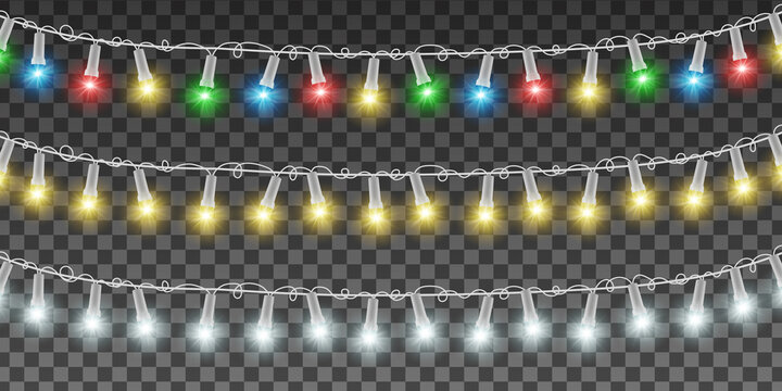 Xmas bright decoration. Christmas garlands, yellow, white, red, blue, green lamps with white wire. Vector realistic light effect. EPS 10