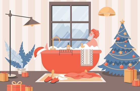 Santa Claus relaxing in bath vector flat illustration. Santa Claus in shower cap taking a bath in bathroom, surrounded by gift boxes and decorated Christmas tree. Cute and funny Christmas card design.