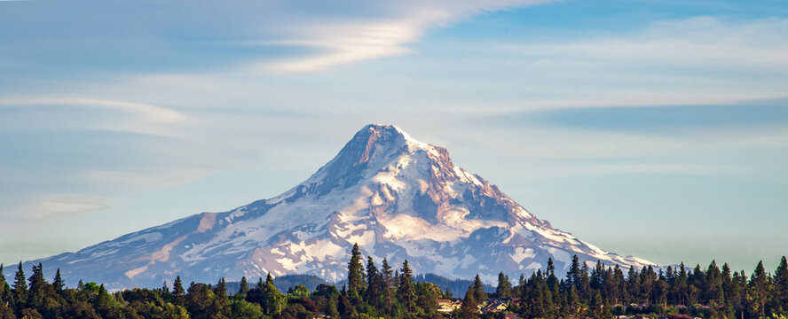 View of Mt. Hood in Oregon as seen from Underwood, Washington