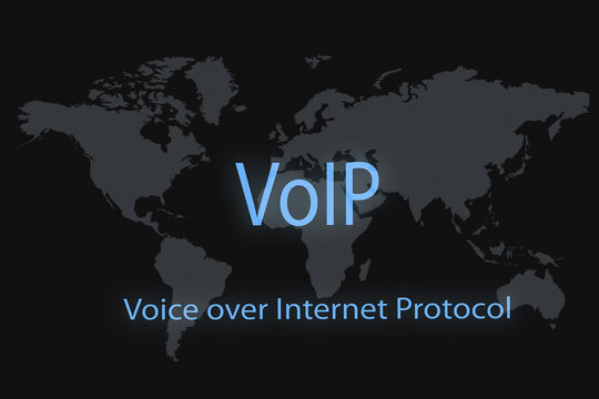 VoIp inscription on a dark background and a world map.