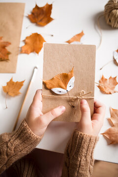 autumn craft for kids. animal Fox made from maple leaf. childrens art and creative. handicraft made from natural materials. diy