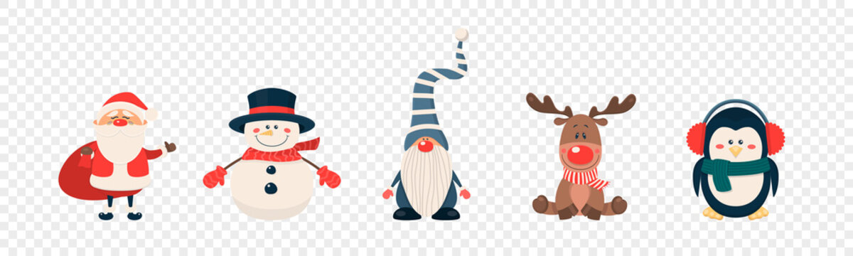 Vector Christmas Cute Characters and Animals Icon Set Isolated. Santa Claus, Snowman, Reindeer, Gnome, Penguin in Cartoon Flat Style. Design Template for Merry Christmas and Happy New Year Card