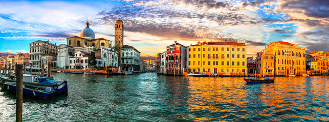 Romantic Venice town over sunset. Venetian canals. Italy