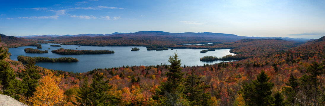 Panoramic view of blue mountain lake in the Adirondack