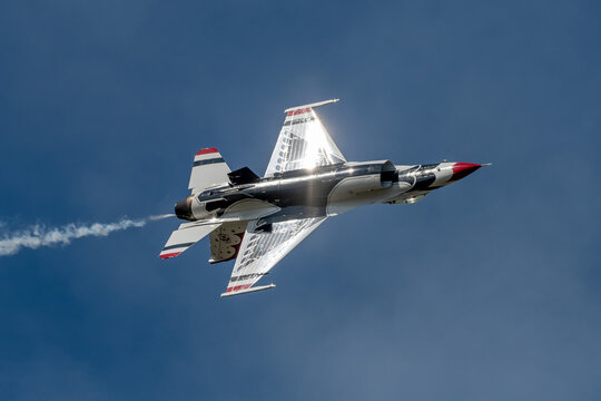 Sanford, Florida – October 31, 2020:  The U.S. Air Force Demonstration Squadron, aka the Thunderbirds, at the Lockheed Martin Space and Air Show in Sanford, Florida, on October 31, 2020.